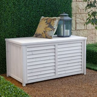 Coral Coast Outdoor Wood Deck Box   White Wash   Outdoor Benches