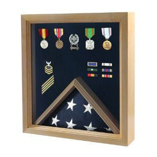 Flag and Medal Display Case   Military Shadow Box   Shadow Box For Military Medals