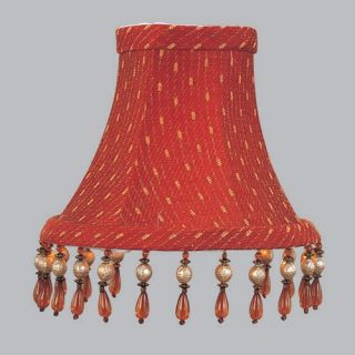 Livex S156 Bell Clip Chandelier Shade with Amber Beads in Red/Gold   Lamp Shades