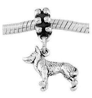 Sterling Silver Siberian Husky Dog Dangle Bead Charm Jewelry