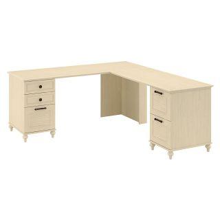 kathy ireland Office by Bush Furniture Aloha Double Pedestal L Desk   Driftwood Dreams   Desks