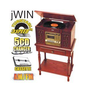 Jwin (Jk 799) Retro Looking Cherry Wood Stereo with 5 Disk Cd Player, Am/fm Radio, Phonograph & Cassette Tape Player
