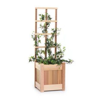 All Things Cedar Square Western Red Cedar Wood Planter Box   Trellises