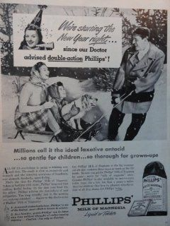 "Phillips Milk of Magnesia, 40's B&W Illustration/Painting, Print Ad. 10 1/2""x 14""(mother, daughter, dog on sled) Original Vintage 1946 Magazine Print art ***store link [www./shops/ads thru time]"