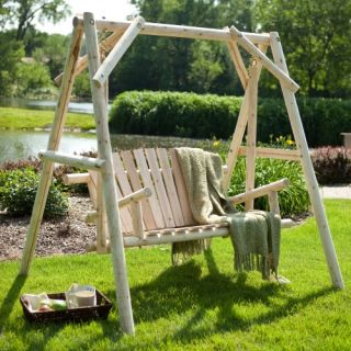 Coral Coast Rustic Natural Log Curved Back Porch Swing and A Frame Set   Porch Swings