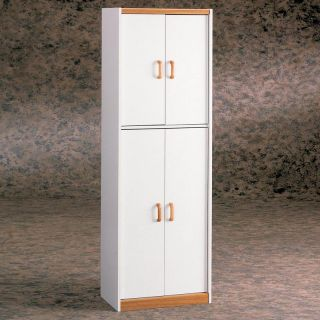 White Deluxe Four Door Pantry Cabinet   Pantry Cabinets