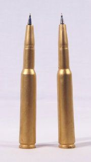 Craftsman 50 Caliber Machine Gun Bullet Writing Pens   Set of 2 : Writing Pens : Office Products