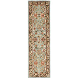 Safavieh HG812B Heritage Collection 2 Feet 3 Inch by 20 Feet Handmade Hand spun Wool Area Runner, Blue and Brown   Area Rugs