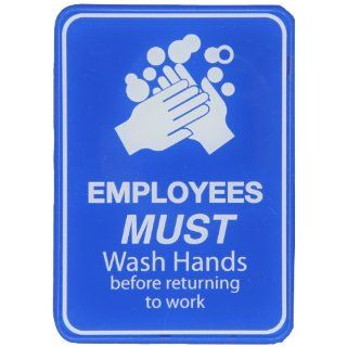 "Brady 103879 Acrylic Interior Decor Restroom Sign, 7"" X 5"", Legend ""Employees Must Wash Hands Before Returning To Work"": Industrial Warning Signs: Industrial & Scientific"