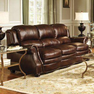 Novo Home Hampton Sofa in Chestnut Bonded Leather