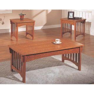 Missionary 3 Piece Oak & Veneer Table Set   Coffee Table Sets