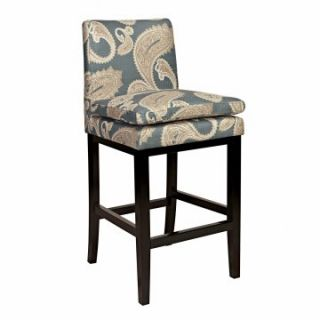 angeloHOME Marnie 30 in. Bar Stool   Feathered Paisley French Blue   Bar Stools