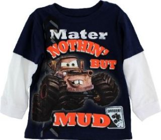 "Disney Cars Mater ""Nothin' But Mud"" Navy Toddler Boys Tee Shirt 2T 4T (3T) Fashion T Shirts Clothing"
