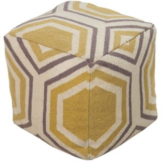 Surya 18 in. Cube Wool Pouf   Ivory / Parsnip   Ottomans