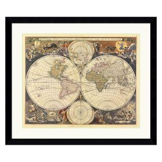 New World Map, 17th Century Framed Wall Art   38.6W x 32.6H in.   Framed Wall Art