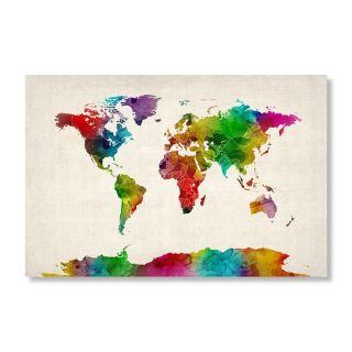 Watercolor World Map II by Michael Tompsett Wall Art   Wall Maps