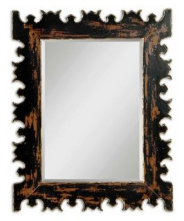 Uttermost Caissa Heavy Distressed Black & Gold Wall Mirror   34W x 43H in.   Wall Mirrors