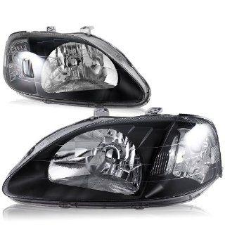 1999   2000 Honda Civic Black Housing Chrome Reflector JDM Headlights head lamps Automotive