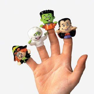"""4 ~ Halloween Finger Puppets ~ Approx. 1.5"""" ~ Vinyl ~ Assorted ~ New ~ Dracula, Vampire, Witch, Mummy, Frankenstein Monster Toys & Games"""