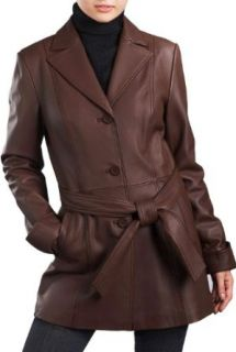 BGSD Women's New Zealand Lambskin Leather Trench Coat   Espresso XL Leather Outerwear Jackets