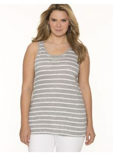 Lane Bryant Plus Size Embellished lace tank     Womens Size 14/16, Frost Gray