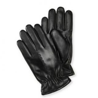 Isotoner Mens Black Leather Gloves Gathered Wrist & Faux Fur Sherpasoft Lining at  Men�s Clothing store