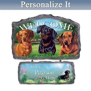 Lovable Dachshund Art Personalized Welcome Sign Wall Decor with Linda Picken Art   Wall Pediments