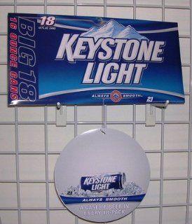Keystone Light 2 piece Beer Bar Sign Ceiling Dangler 2 Sided