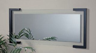 """Luthor 37""""W Wall Mirror with Frame in Black Finish   Wall Mounted Mirrors"""