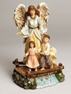 "Pack of 2 Religious Guardian Angel on Bridge Figurines 9.84""   Collectible Figurines"