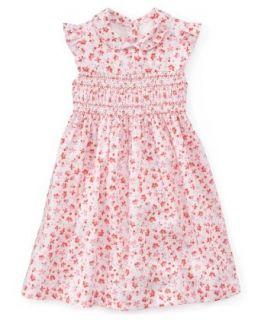 Laura Ashley Girls Smocked Pique Dark Pink Floral Print Sundress 4 Toddler Clothing