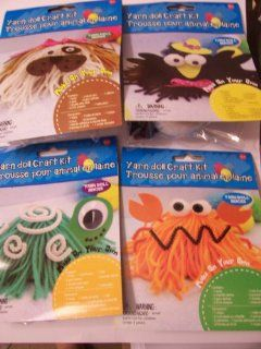 Yarn Doll Craft Kits ~ Set of 4 Animals (Bird, Turtle, Crab, and Dog) Toys & Games