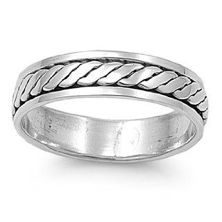 Interlacing Row Spinner Ring Sterling Silver 925: Spinner Ring Women: Jewelry