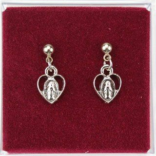 "Great for First Communion, Small Girls or Womens Dangling Heart Shaped St. Mary Miraculous Medal Earrings, Silver Tone, 1"" L Jewelry"