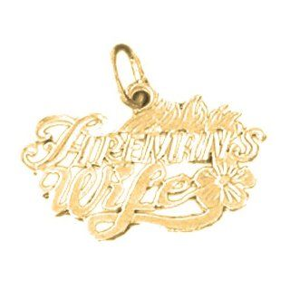 Gold Plated 925 Sterling Silver Fireman's Wife Pendant: Jewelry