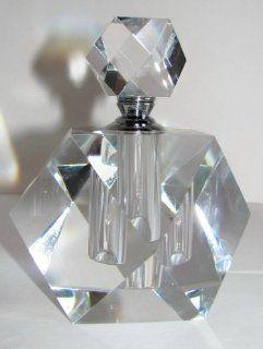 Crystal Perfume Bottle Oleg Cassini Prism Large Diamond Shape   Decorative Bottles