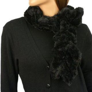 Super Soft Winter Faux Fake Animal Fur Furry Fuzzy Winter Scarf Neckwarmer Black