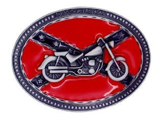 Bike South Will Rise Again Confederate Flag Rebel Southern Dixie Belt Buckle