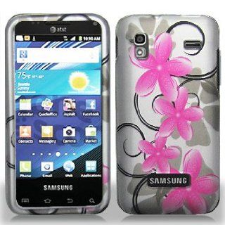 Samsung Captivate Glide i927 i 927 Silver with Pink Floral Flowers Black Swirl Vines Design Snap On Hard Protective Cover Case Cell Phone Cell Phones & Accessories