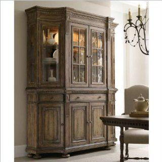 Hooker Furniture Sorella Shaped Credenza with Hutch in Warm Brown   Sideboards