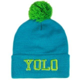 City Hunter Sk961 Yolo Neon Pom Beanie Hat   Neon Blue : Other Products : Everything Else