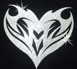 Fabric Glitter Sequin Heart Gothic Tribal Iron On Fabric Transfer
