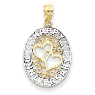 14k & Rhodium Happy Anniversary Hearts Pendant, Best Quality Free Gift Box Satisfaction Guaranteed: Jewelry