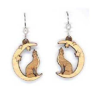 Wolf in Moon on Maple with Frosted Quartz Stone Bead Natural Wood Carved Earrings: Jewelry