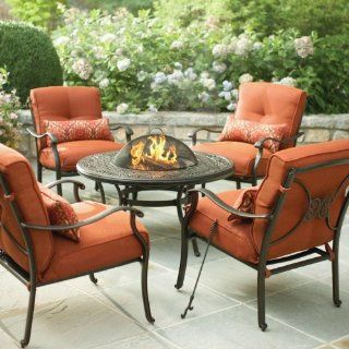Martha Stewart Living Cold Spring 5 Piece Patio Fire Pit Set with Burnt Orange Cushions  Outdoor And Patio Furniture Sets  Patio, Lawn & Garden