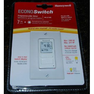 Honeywell Econoswitch RPLS740B 7 Day Solar Time Table Programmable Switch for Lights and Motors   Wall Light Switches