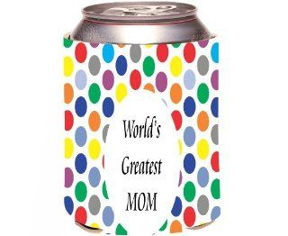 Rikki KnightTM World's Greatest Mom Colored Polka Dot Design Drinks Cooler Neoprene Koozie Kitchen & Dining