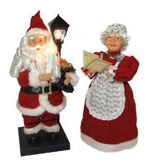 "Set of 2 Illuminated & Animated Santa Claus & Mrs. Claus Christmas Figures 18""   Holiday Figurines"