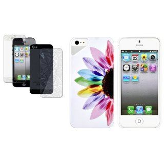 CommonByte 3D Bling Film+Sunflower Colorful Design Hard Rubberized Case for iPhone 5 LTE: Cell Phones & Accessories