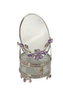 Glass Jewelry Trinket Box and Mirror with Lavender Flower